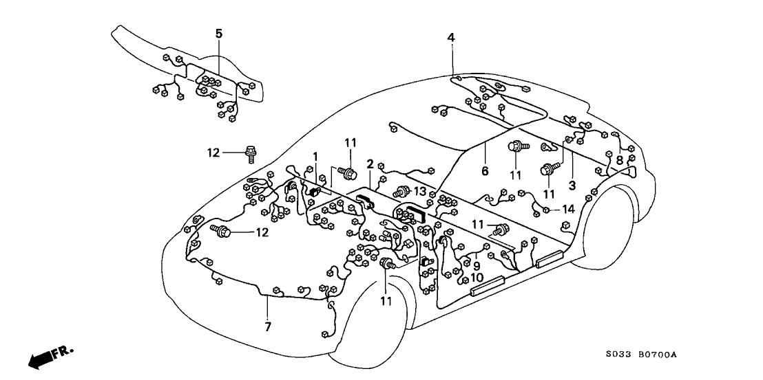 1997 Honda Civic 3 Door Dx Ka 5mt Wire Harness
