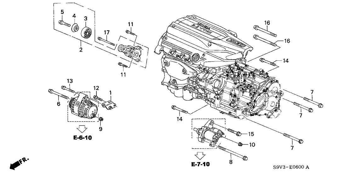 [ZHKZ_3066]  2004 Honda Pilot 5 Door EX KA 5AT Alternator Bracket | 2004 Honda Pilot Engine Diagram |  | Honda Parts