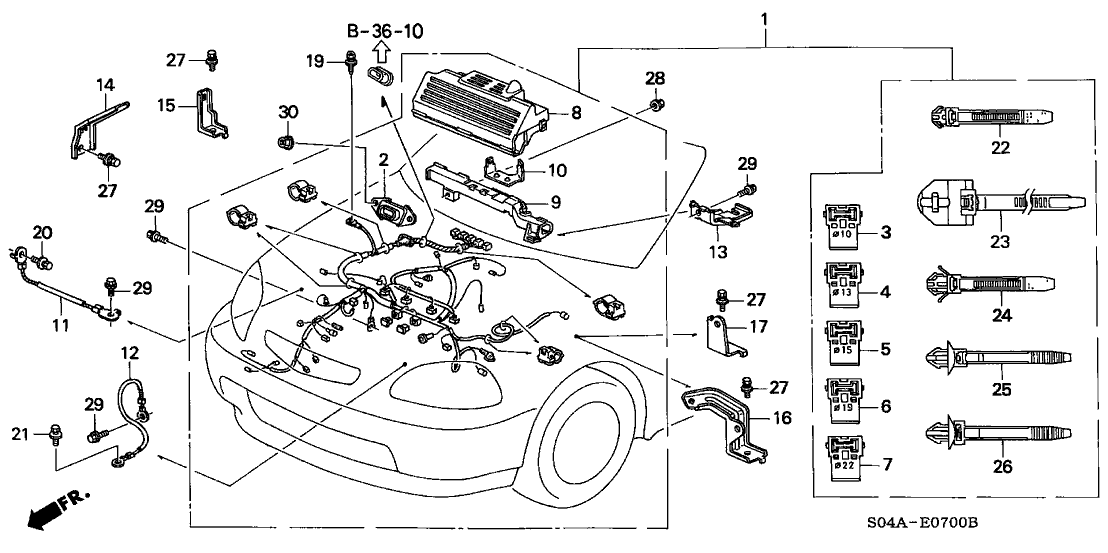 1999 Honda Civic 4 Door Ex Ka 4at Engine Wire Harness