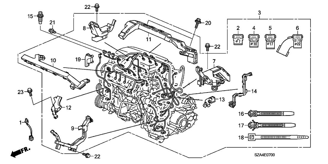 2009 Honda Pilot 5 Door EX (2WD) KA 5AT Engine Wire Harness