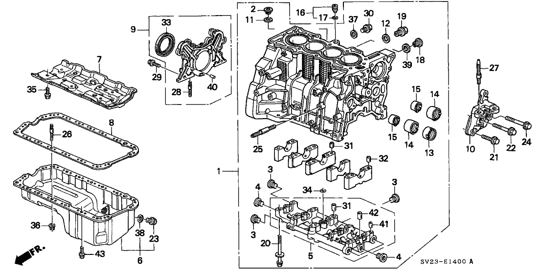 1995 Honda Accord 2 Door LX (ABS) KA 4AT Cylinder Block - Oil Pan