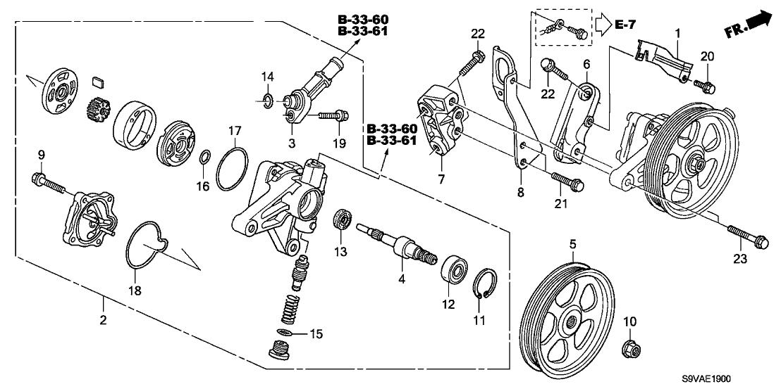 2008 Honda Pilot 5 Door Ex-se  2wd  Ka 5at P S  Pump