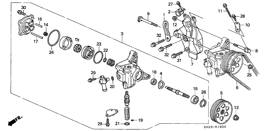1995 Honda Accord 2 Door LX (ABS) KA 4AT P.S. Pump - Bracket