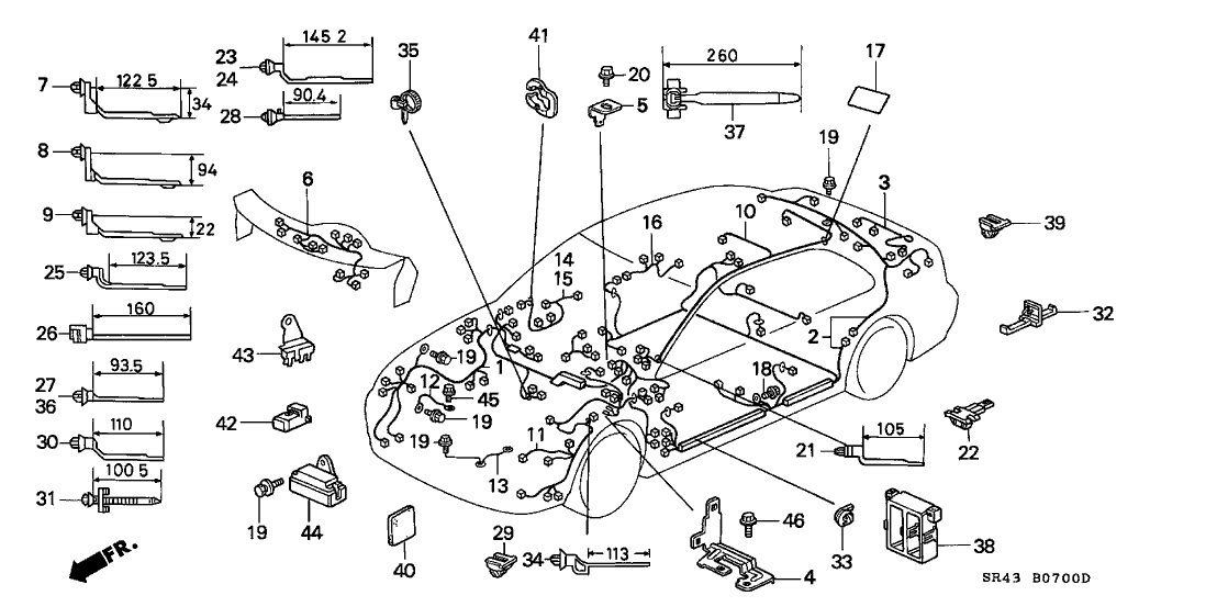 1995 Honda Civic 4 Door Lx Ka 5mt Wire Harness