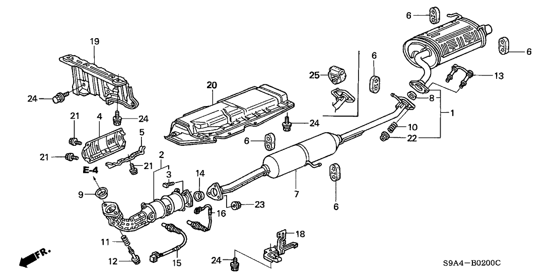 2002 Honda Cr V 5 Door Lx 4wd Ka 5mt Exhaust Pipe Muffler