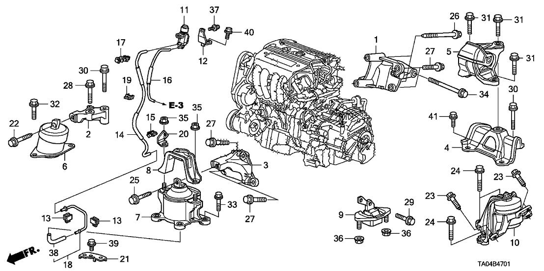2008 Honda Accord 4 Door Ex Ka 5at Engine Mounts  L4