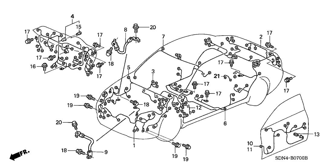2003 honda accord 2 door ex  v6  ka 5at wire harness