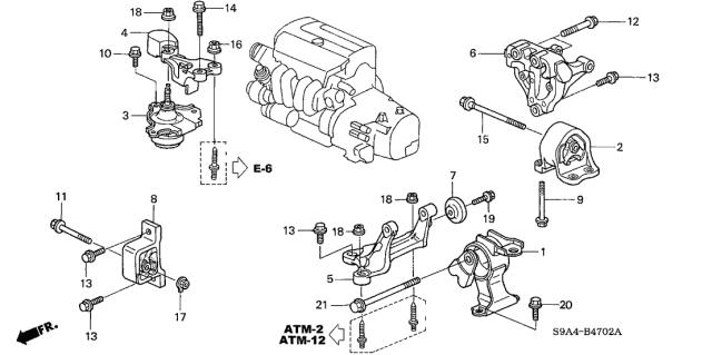 Engine Mounts - 2005 Honda CR-V 5 Door LX (4WD) KA 5AT | 2005 Honda Cr V Engine Diagram |  | Honda Parts Now