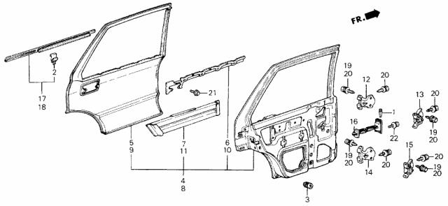 Left Genuine Honda 76830-SB4-670ZA Door Lining Assembly Rear