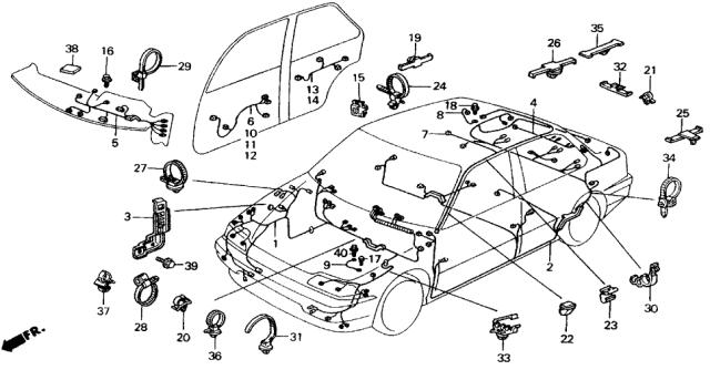 1989 Honda Civic 4 Door Lx Ka 5mt Wire Harness Honda Parts Now