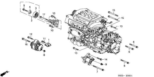 Genuine Honda 31113-R1A-A00 Alternator Bracket