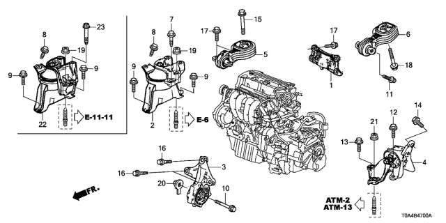 50830 T0t H81 Genuine Honda Mounting Fr Engine