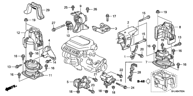 50835-SFY-003 - Genuine Honda Stopper Assy., FR. Engine MountingHonda Parts Now