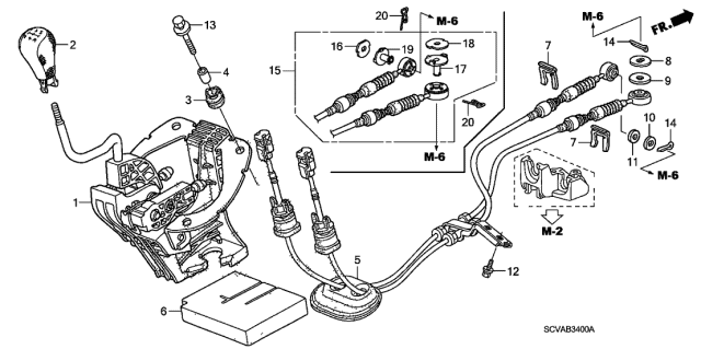 2009 Honda Element Shift Lever Diagram