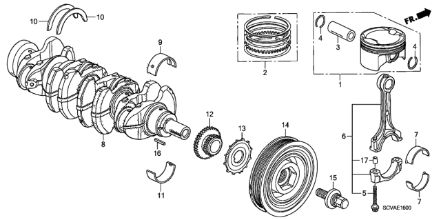 2009 Honda Element Piston - Crankshaft Diagram