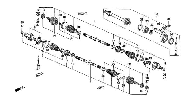 Acura 44500-SR3-J01 CV Intermediate Shaft