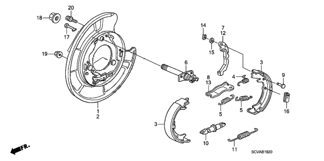 2009 Honda Element Parking Brake Shoe Diagram
