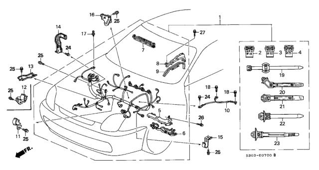 1999 Honda Prelude 2 Door Typesh Ka 5mt Engine Wire Harness