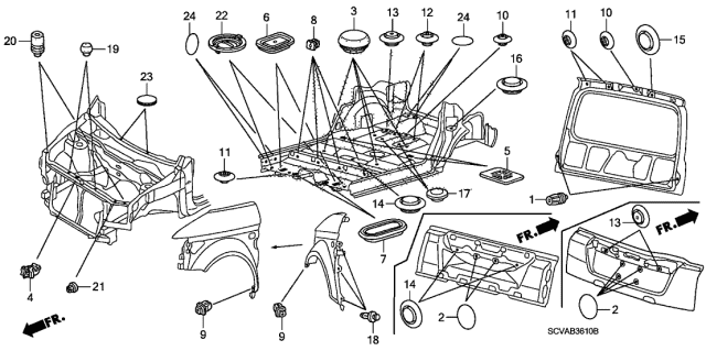 2009 Honda Element Grommet (Bulkhead/Floor/Tailgate) Diagram