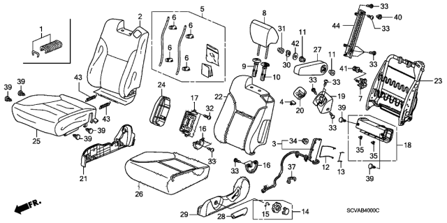 2009 Honda Element Front Seat (Driver Side) Diagram