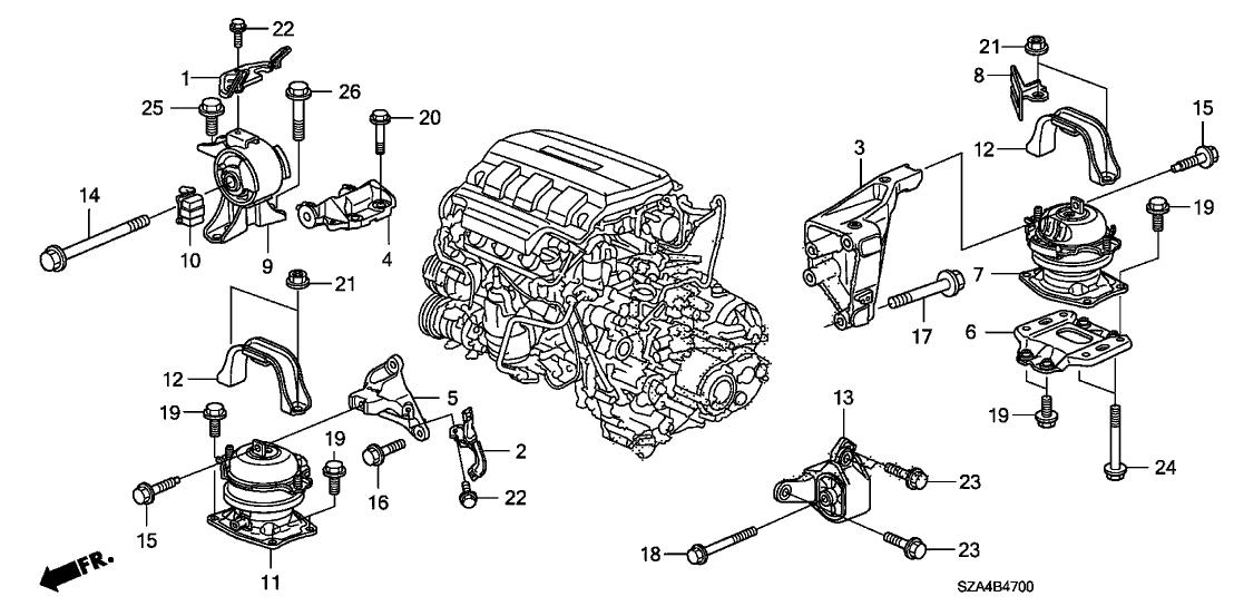 2015 honda pilot 5 door ex-l (4wd/leather) ka 5at engine