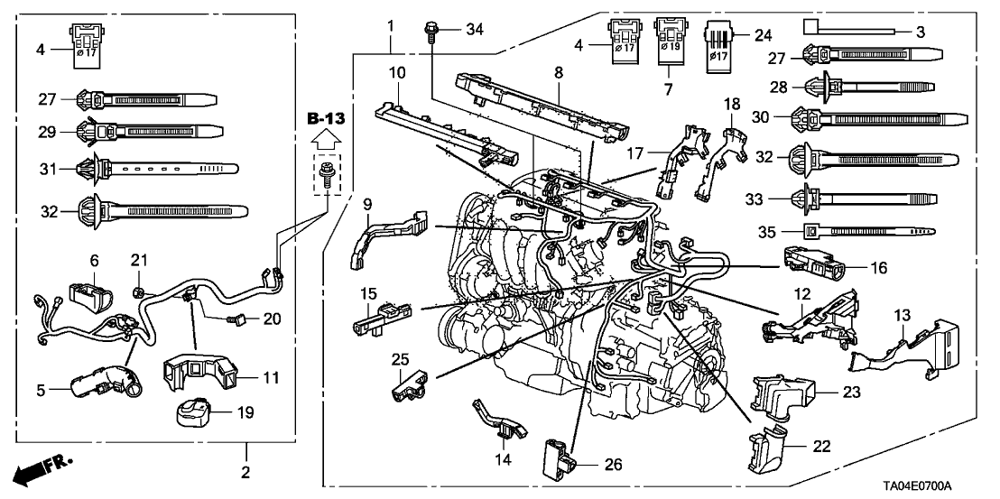 2008 honda accord 4 door ex-l (navigation) ka 5at engine wire harness