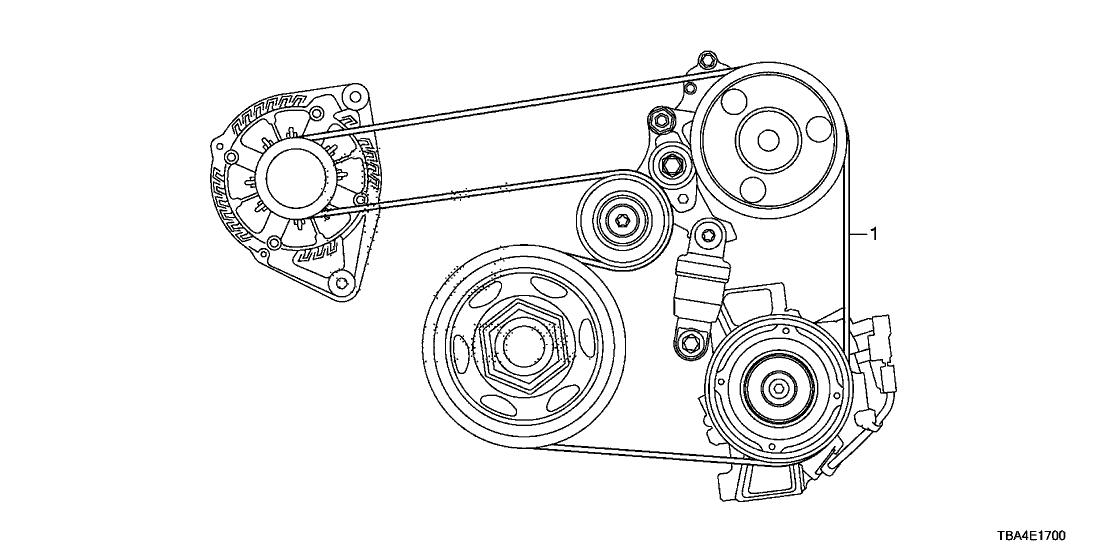2016 Honda Civic 4 Door Ex  Turbo  Ka Cvt Alternator Belt