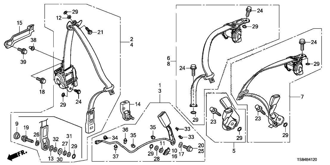 2013 civic belt diagram 04818 ts8 a20za genuine honda parts  04818 ts8 a20za genuine honda parts
