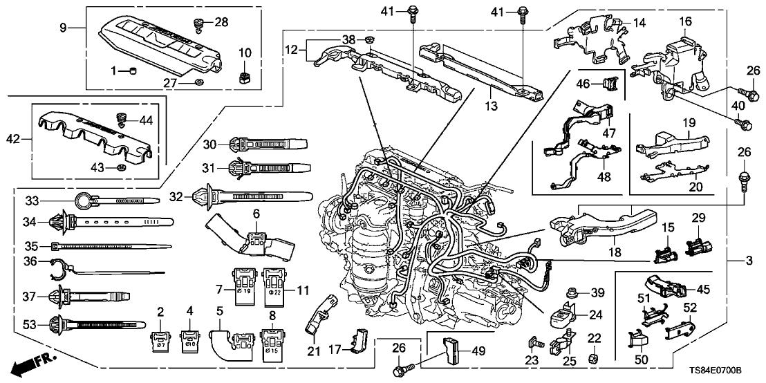 2013 honda civic 2 door ex (navigation) kl 5at engine wire harness (1 8
