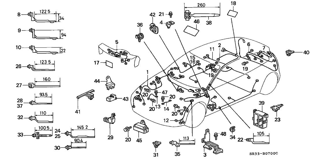 1992 honda civic 3 door vx kl 5mt wire harness honda parts now Aftermarket Engine Wiring Harness