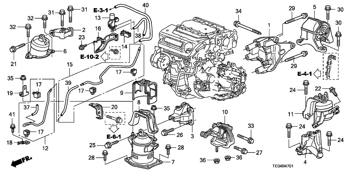 2011 honda accord 2 door exl-v6 (navigation) ka 6mt engine mounts (