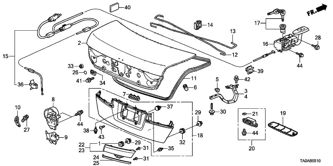 74871TA0G00  Genuine    Honda    Spring  R Trunk Opener