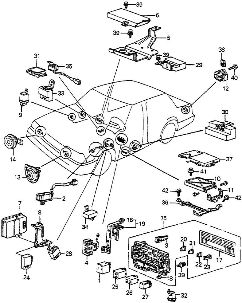 1985 honda accord 4 door sei ka 5mt fuse box - relay - horn