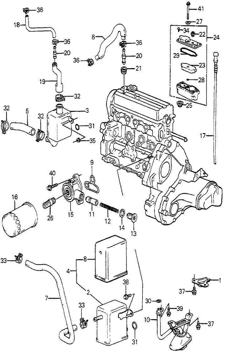 1985 honda accord 4 door sei ka 4at breather chamber - oil filter
