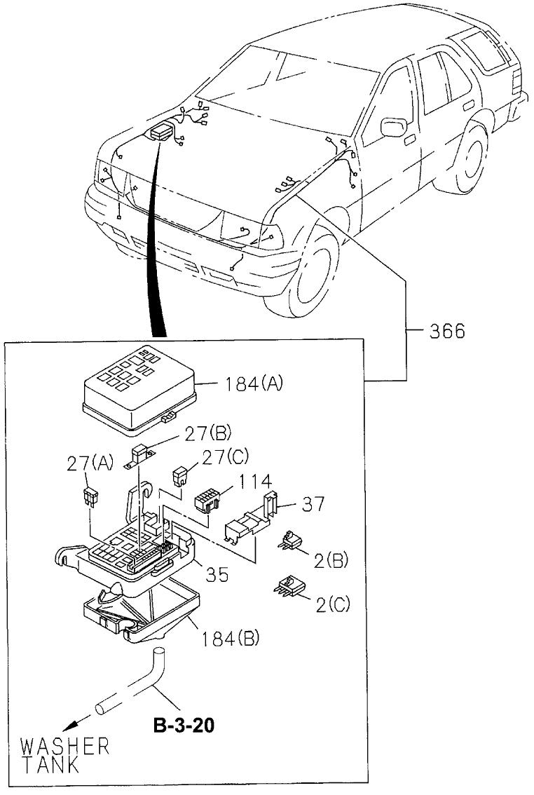 1997 honda passport 4 door lx (4x2 v6) ka 4at fuse box (engine1997 honda passport 4 door lx (4x2 v6) ka 4at fuse box (engine) wiring harness