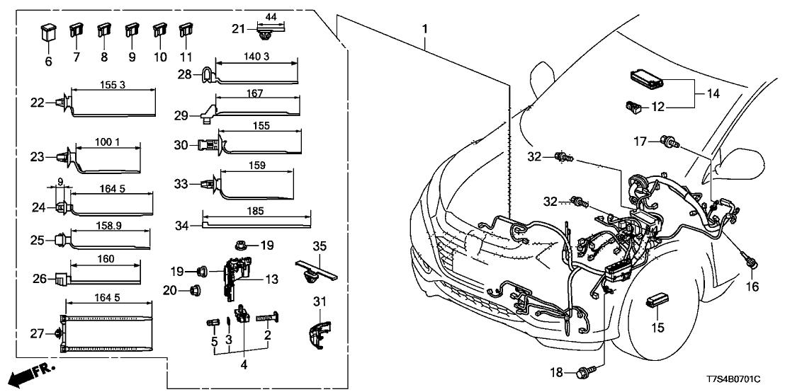 32120 t7s a31 genuine honda wire harness l cabin. Black Bedroom Furniture Sets. Home Design Ideas