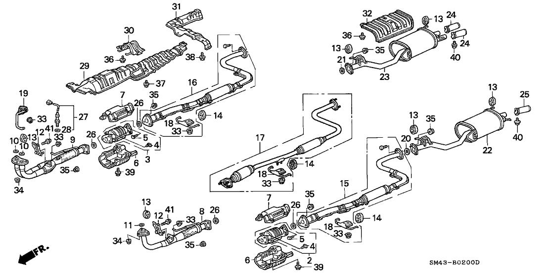 1991 honda accord 4 door ex kl 5mt exhaust system