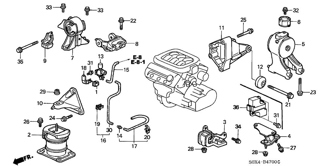50806 s87 a80 genuine honda rubber rr transmission mounting rh hondapartsnow com 2002 honda odyssey engine parts diagram 2002 honda odyssey engine parts diagram