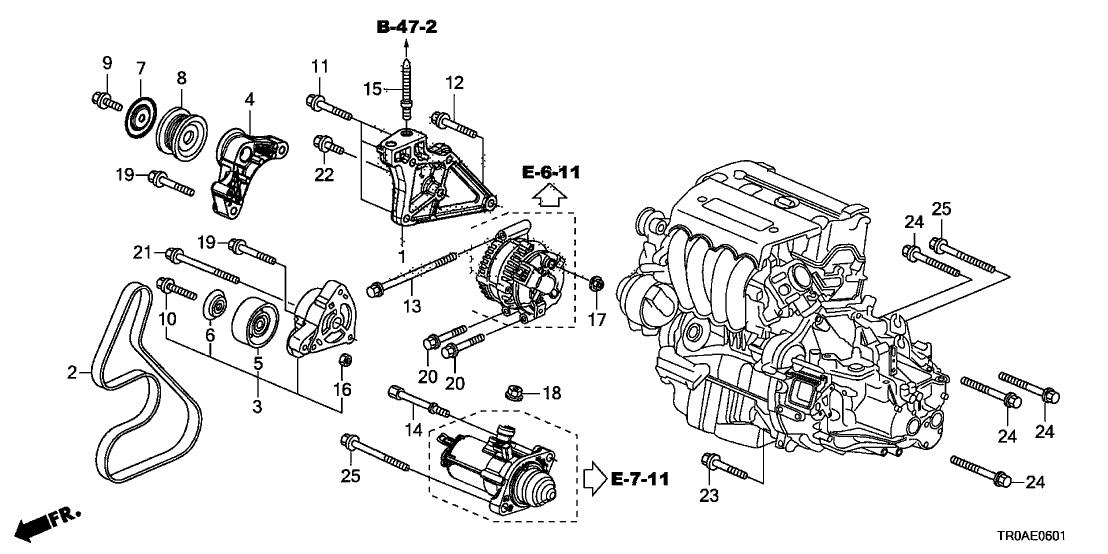 2013 Honda Civic 4 Door Si Ka 6mt Alternator Bracket Tensioner 2 4l