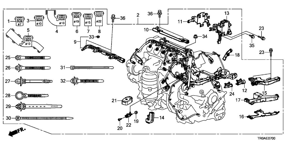 2013 honda civic 4 door lx ka 5at engine wire harness (1 8l) 2013 Honda Insight Engine Diagram 5 door ex ka cvt engine wire harness