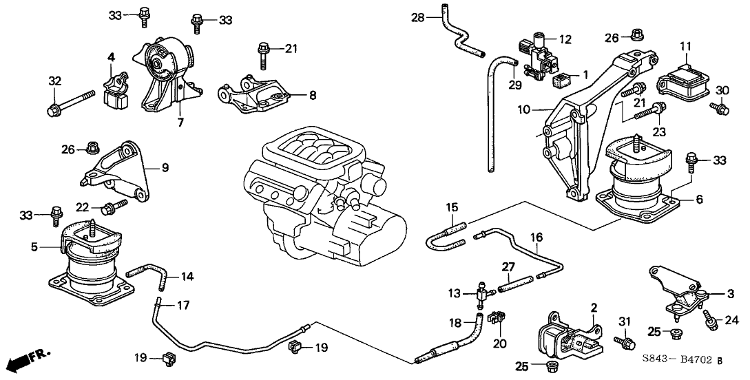 2001 honda accord 2 door ex (v6) ka 4at engine mount (v6) 2001 Volkswagen Golf Engine Diagram