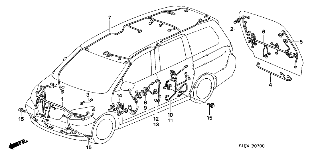 2009 honda odyssey 5 door exl t ka 5at wire harness BMW 540I Diagram