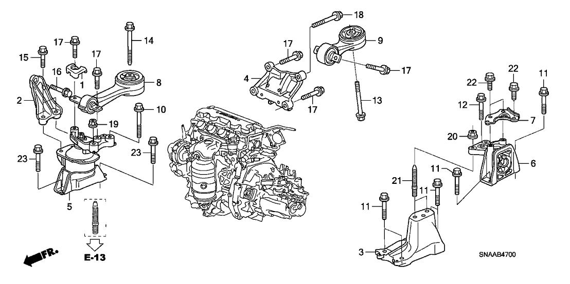 2009 Honda Civic 4 Door Ex Ka 5mt Engine Mounts  1 8l