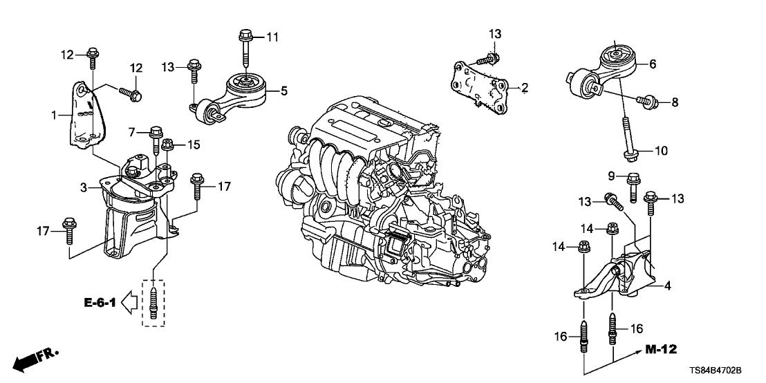 50820-TR7-A01 - Genuine Honda Mounting, Engine Side