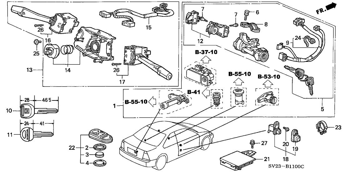 35100-SV4-A02 - Genuine Honda Lock Assy., Steering