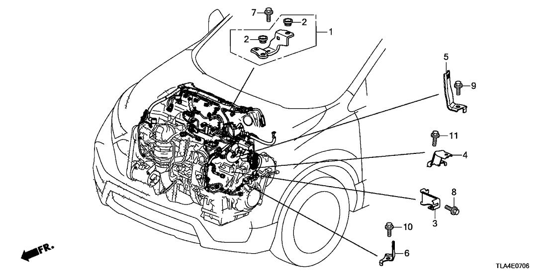 2017 honda cr-v 5 door 24lx (awd/ont/aep engine) ka cvt engine wire harness