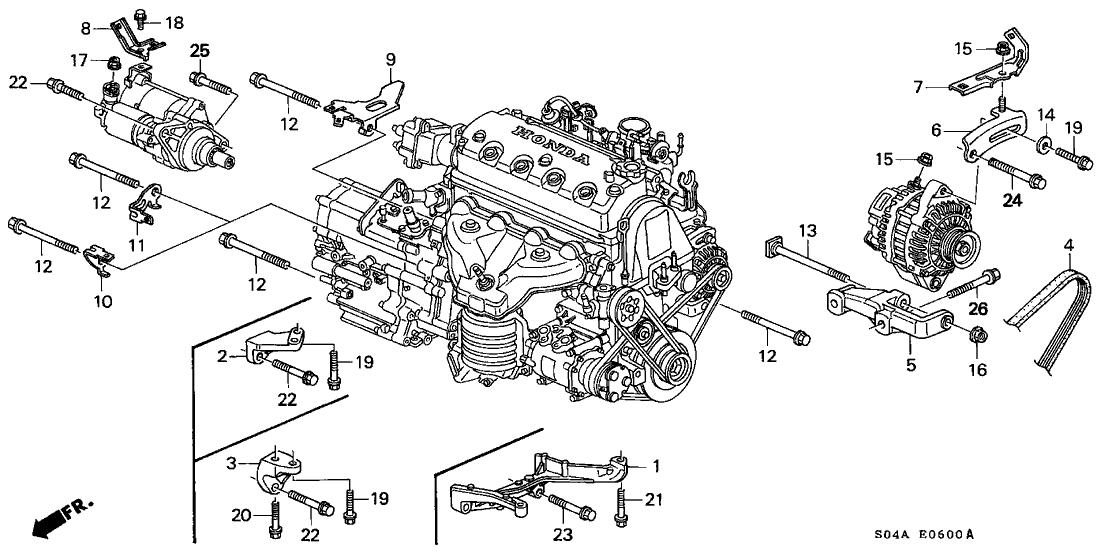2000 honda civic ex engine diagram 2000 honda civic 4 door ex ka 5mt alternator bracket  2000 honda civic 4 door ex ka 5mt