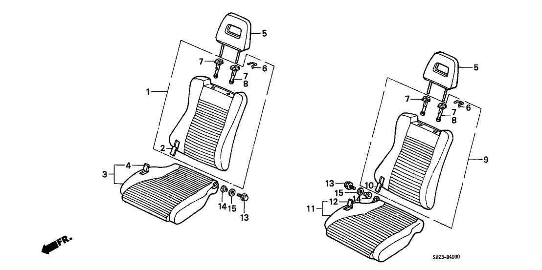 Left Front Honda Genuine 81530-SH2-A13ZC Seat Cushion Assembly