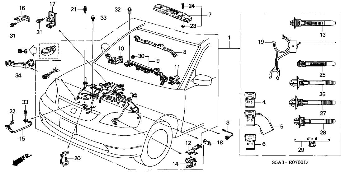 2003 Honda Civic 4 Door Ex Ka 4at Engine Wire Harness