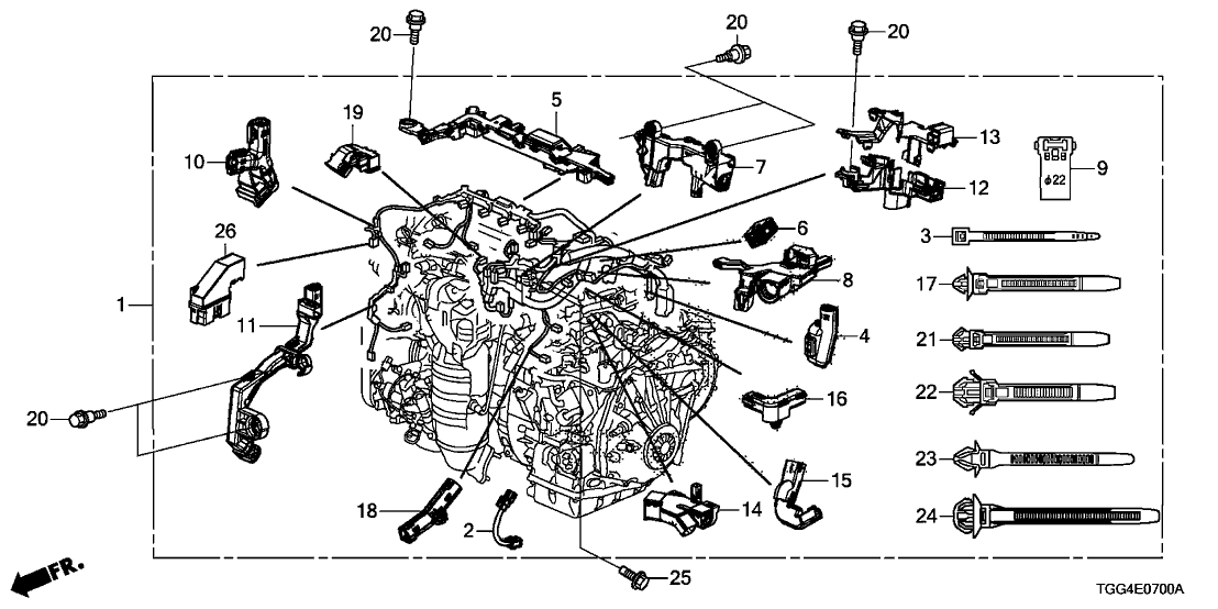 wiring harness honda civic coupe 32110 5aa a74 genuine honda wire harness  engine  32110 5aa a74 genuine honda wire